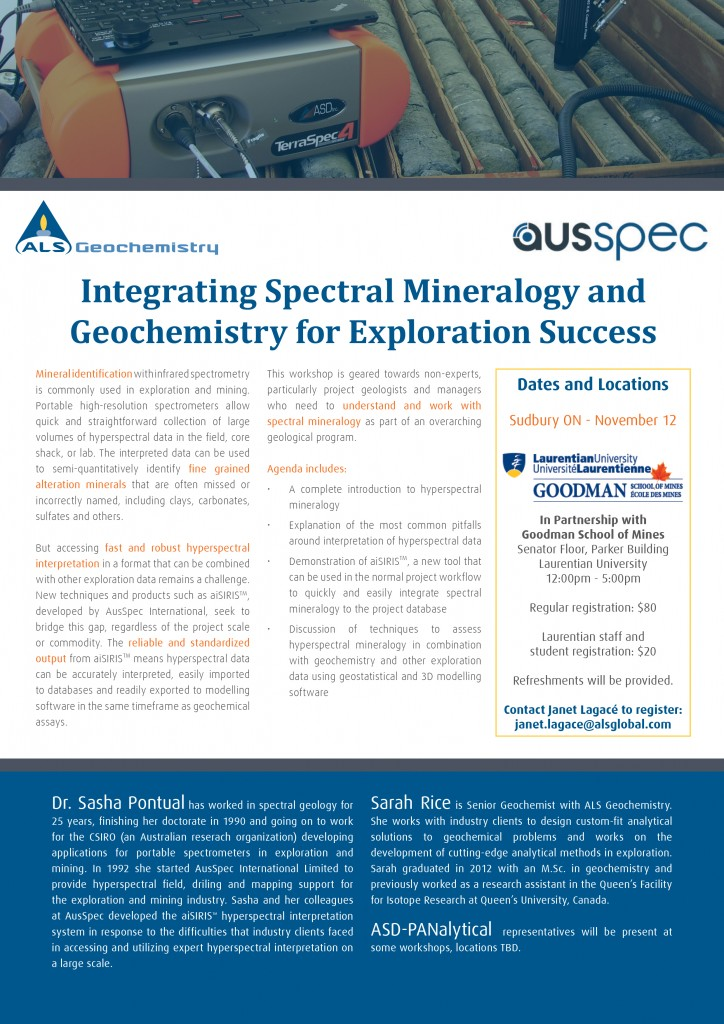 ALS and AusSpec Hyperspectral Mineralogy Workshop - Sudbury