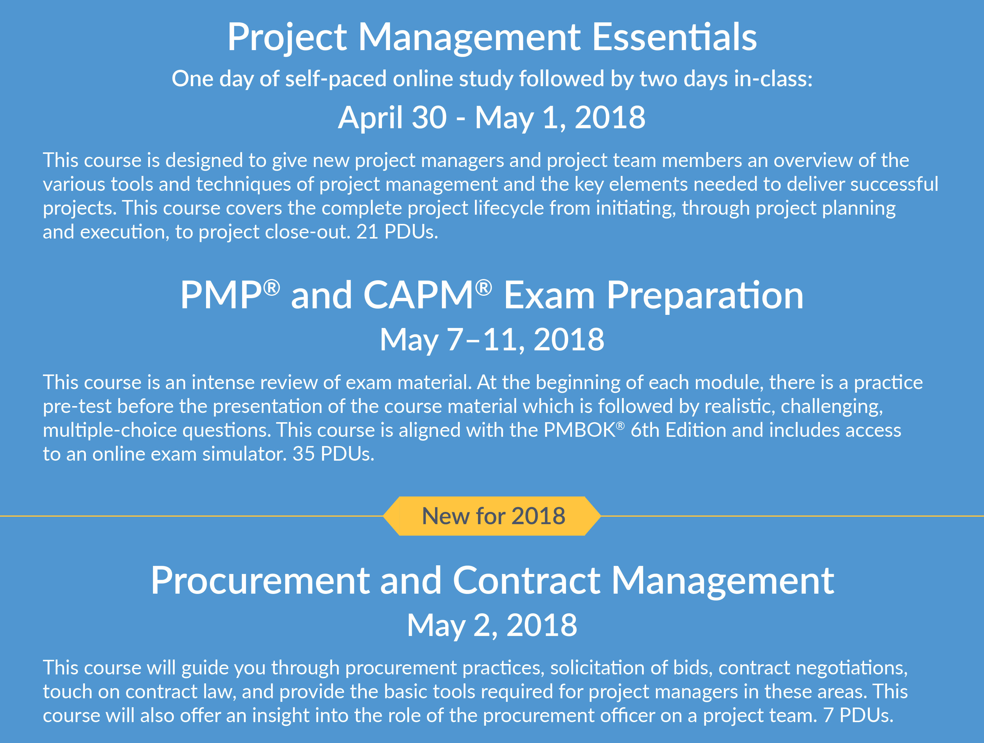 PM Spring Courses